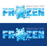 Frozen logo. Crystal snowflake with text. Vector illustration Royalty Free Stock Photography