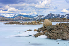 Frozen Loon Lake in high Sierras, California. Royalty Free Stock Images