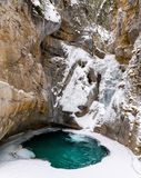 The frozen Lower Johnston Falls in the Johnston Canyon Royalty Free Stock Images