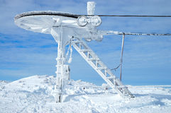 Frozen machinery. Frozen ski lift machinery on mountain top Royalty Free Stock Photo