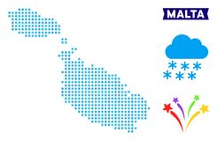 Frozen Malta Island Map. Freeze Malta Island map. Vector geographic scheme in blue cold colors. Vector collage of Malta Island map constructed of snow dots royalty free illustration