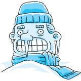 Frozen Man. A very cold cartoon man, frozen in the snow vector illustration