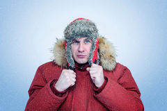 Frozen man in winter clothes warming ears, cold, snow, blizzard Royalty Free Stock Photography