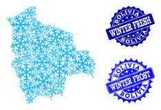 Frost Map of Bolivia and Winter Fresh and Frost Grunge Stamps vector illustration