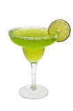 Frozen Margarita, Lime, Isolated. Frozen margarita with lime slice isolated on white background with clipping path Royalty Free Stock Image