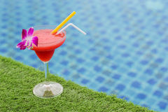 Frozen margarita with strawberry aperitif coctail Royalty Free Stock Images