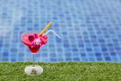 Frozen margarita with strawberry and orchid flower Royalty Free Stock Photo