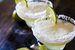 Frozen margaritas. With lime and salt Stock Photos