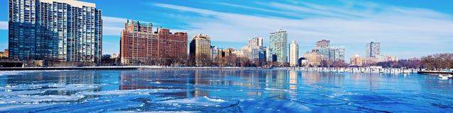 Frozen marina in Chicago Stock Photos