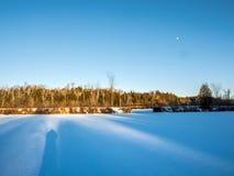 Frozen Marsh Land. Frozen marsh wetlands snow covered in winter Royalty Free Stock Photo