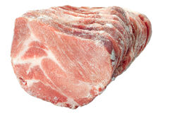 Frozen meat. Frozen pork chops on a white background stock photography