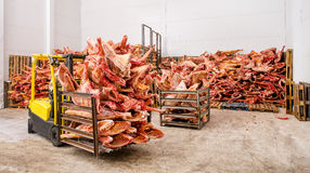 Frozen meat at a storage Royalty Free Stock Images