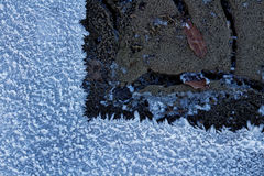 Frozen and melted ground detail. Wintertime: The stony ground still covered with ice, while the soil is already exposed. Topview image Stock Photos