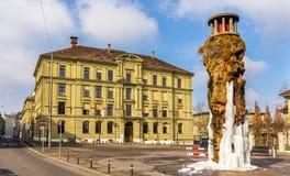 Frozen Meret Oppenheim Fountain in Bern. Switzerland stock image