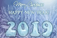 Frozen Merry Christmas and New 2019 year banner, vector. Illustration vector illustration