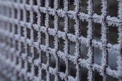 Frozen metal fence Stock Photos