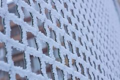 Frozen metal iron chequer grid covered with frost in winter. Frozen metal iron net chequer grid covered with frost in winter close-up stock image