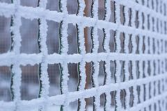 Frozen metal iron net grid covered with frost in winter. Frozen metal iron net chequer grid covered with frost in winter close-up royalty free stock photos