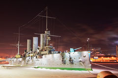 Frozen military ship Avrora Stock Photos