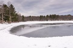 Frozen Mill Pond - Grafton, New York. Frozen ice on Mill Pond in Grafton State Park in Grafton, New York stock images