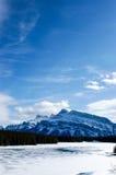 Frozen Minnewanka Lake of Banff National Park Royalty Free Stock Images