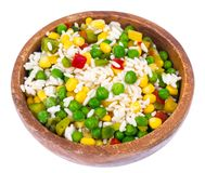 Frozen mix vegetables and rice stock photo