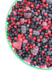 Frozen mixed fruit in bowl - berries. Red currant, cranberry, raspberry, blackberry, bilberry, blueberry, black currant Stock Photography