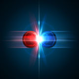 Frozen moment of two particles collision. With red and blue light. Vector illustration. Explosion  concept. Abstract molecules impact on black background Stock Photos