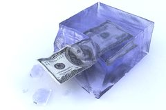 Frozen money. Hundred dollars frozen in a block of ice Stock Illustration