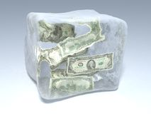 Frozen money. 3d illustration of piece of ice with dollars Royalty Free Stock Photography