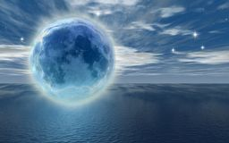 Frozen moon. Over the ocean - digital artwork Royalty Free Stock Photography