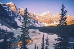 Frozen Moraine Lake in Canada. Frozen Moraine Lake in Banff National Park. Banff National Park,Alberta, Canada Royalty Free Stock Photos