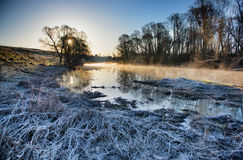 Frozen morning landscape with a river Stock Image