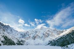 Frozen Morskie Oko lake Royalty Free Stock Photos