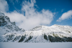 Frozen Morskie Oko lake Royalty Free Stock Photography