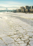Frozen Moscow River, Embankment, Ministry of Defence, sunny wint Stock Images