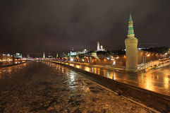 Frozen Moscow river and Kremlin by night Stock Photography