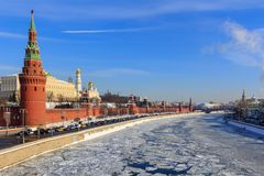 Frozen Moskva river on the background of Kremlevskaya embankment. Winter in Moscow Royalty Free Stock Images