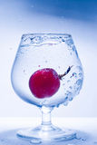 Frozen motion grape and glass water Royalty Free Stock Photo