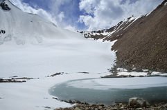 Frozen mountain lake. Small frozen lake in mountains Stock Photo