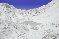 Frozen mountain lake (Lago di Pietra Rossa) Royalty Free Stock Photo