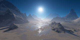 Frozen mountain lake in the sun. Royalty Free Stock Images