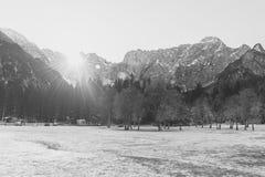 Frozen mountain landscape Stock Photos