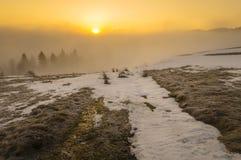 Frozen mountain meadow in late winter. Frozen mountain meadow in late winter-poland Royalty Free Stock Photography