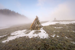 Frozen mountain meadow in late winter. Poland Royalty Free Stock Photo