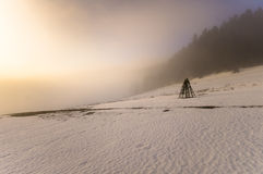 Frozen mountain meadow in late winter. Poland Royalty Free Stock Image