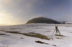 Frozen mountain meadow in late winter. Poland Stock Photos