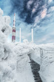 Frozen Mountain Meteorological Station Royalty Free Stock Photo