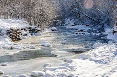Mountain river under the ice Royalty Free Stock Image