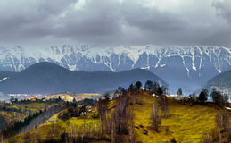 Frozen mountains. Carpatian mountains caught on a cloudy spring day Royalty Free Stock Images